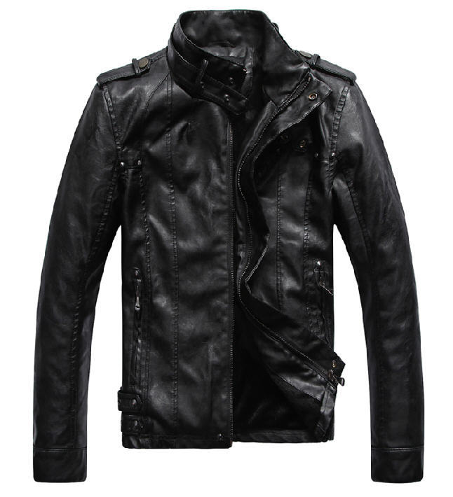 2014 New Fashion Brand Motorcycle Pu Leather Clothing ,Men'S Leather Jacket,Black And Brown XXL  XXXXL Free Shipping Q555