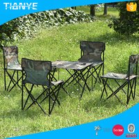 high quality iron reclining used outdoor foldable camping metal 4 person portable folding table and chair set