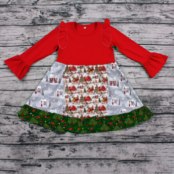 f3b5c270c5043 Holiday Newly arrived toddler girls red Christmas Cap and gift pattern  split long sleeve ruffle dress
