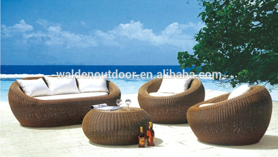 Diseño especial muebles de terraza en forma de huevo Rattan Sofa ...