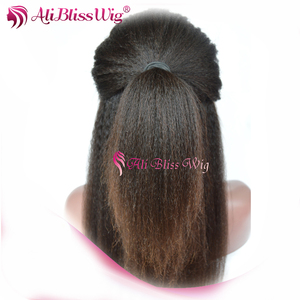 Natural Looking 14 Inch Cheap Brazilian Virgin Hair Italian Yaki Lace Front Wig with Baby Hair for Black Women