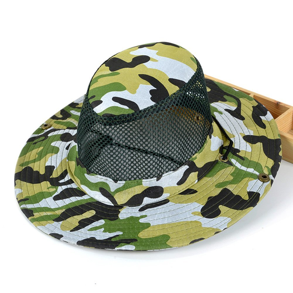 AStorePlus Mesh Camo Fishing Hat Outdoor Camouflage Hiking Camping Hunting Hat Summer UV Protection Cap Sun Boonie Hats For Men Women