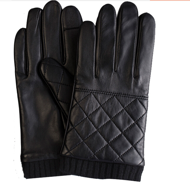 mens wearing fashion new style touch screen leather glove
