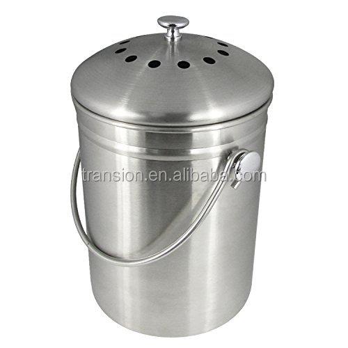 1 1.3 Litri Cucina Interna In Acciaio Inox Compost Compost Bin Caldo  Secchio Con Coperchio