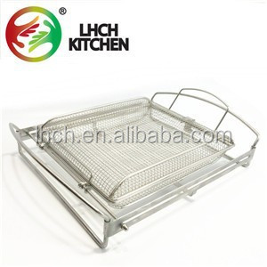 Stainless Steel rectangular Flipping Easy BBQ mesh top grill Basket