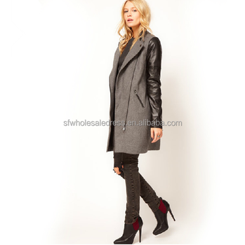Women European style leather sleeve military zipper slim fitted brown long coats and jackets