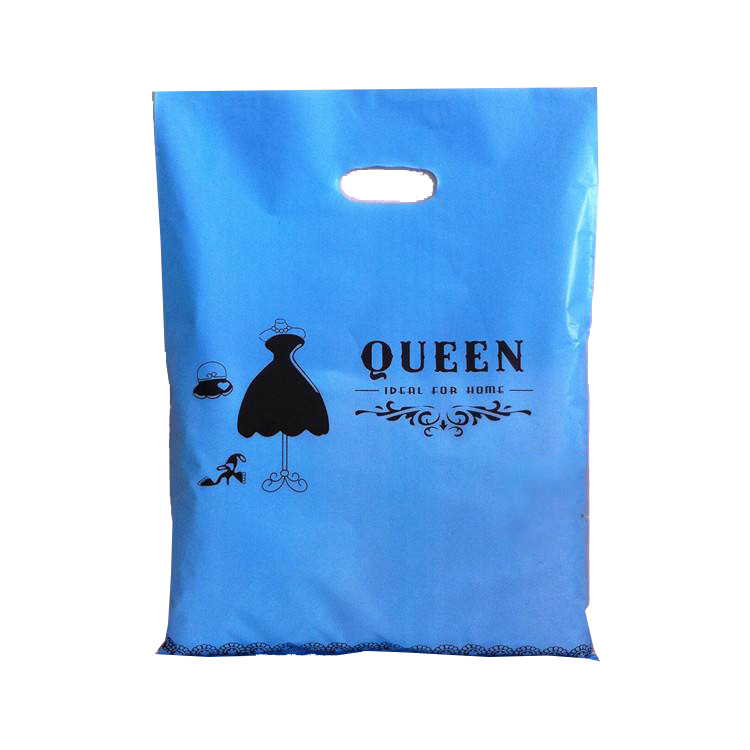 PE Cheap Plastic Die Cut Patch Handle Shopping Plastic Bag Package Bag With Handle