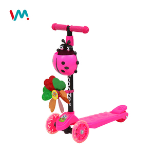 Children's gift kids best 4 wheel foldable kids scooter T foot scooter with windmill
