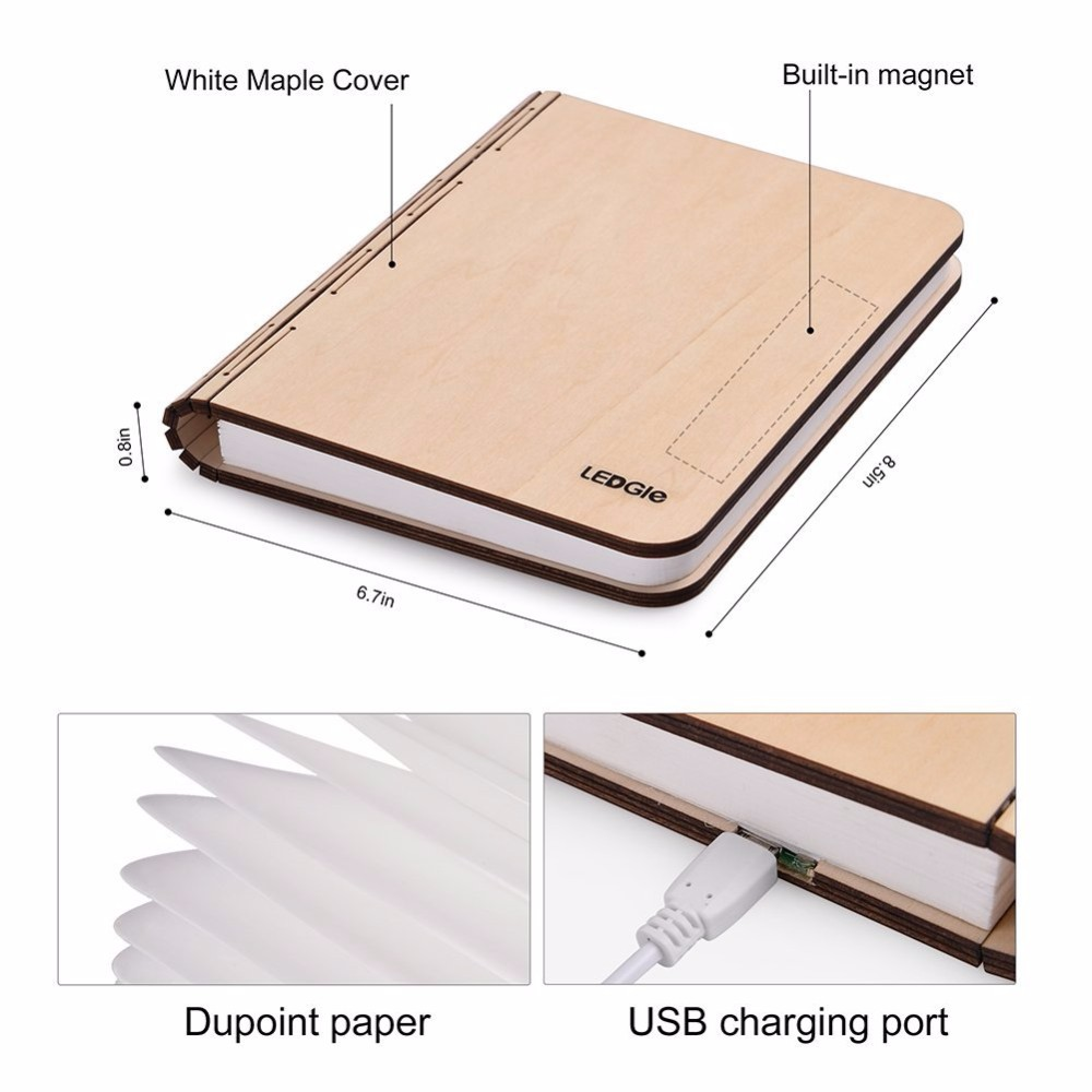 Wooden Cover Reading Light Lumio Book Lamp Folding Led Book