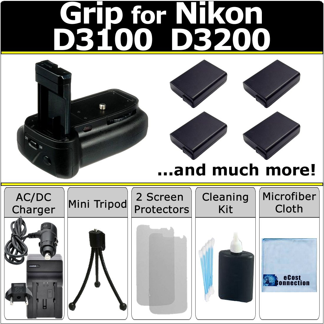 Professional Vertical D3100 D3200 Multi Purpose Battery Grip for Nikon D3100 D3200 DSLR Camera + 4 EN-EL14 Long Life Batteries + AC/DC Turbo Charger with Travel Adapter + Complete Deluxe Starter Kit (BG-N9 BGN9)