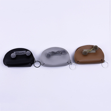 New design handmade coin holder keychain with fur ball bow