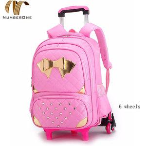 Schoolbag detachable wheeled backpack girl trolley school bag 365ac489f1a74