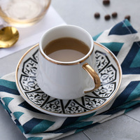 Turkish Coffee Cups With Gold Plated Espresso Porcelain Cup and Saucer Arabic Coffee Set with Color Box