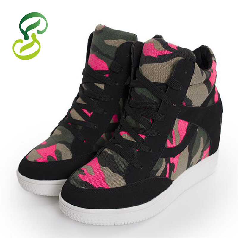 Get Quotations · 2015 New autumn Spring women ankle boots casual Camouflage  Lace-up Fashion Canvas sneakers Flat ee60905d3a
