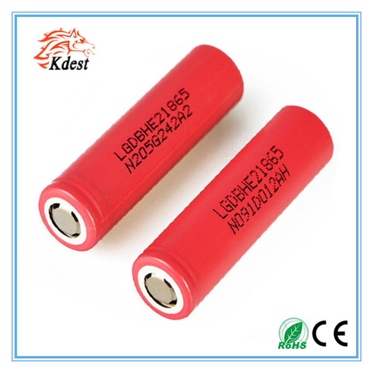 factory LG HE2 2500mah continuous current 20A li polymer with customized packs rechargeable battery for e-cig