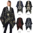 Classical printing warm hand knitted shawl long shawls for women bohemian ponchos with tassel