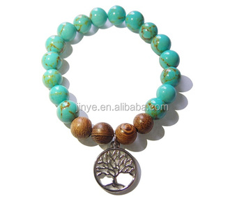 Yoga Jewelry Turquoise Mala Beaded Tree of Life Bracelet
