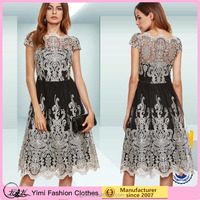 China OEM factory Embroidered Mesh Long Dress Full length evening dress