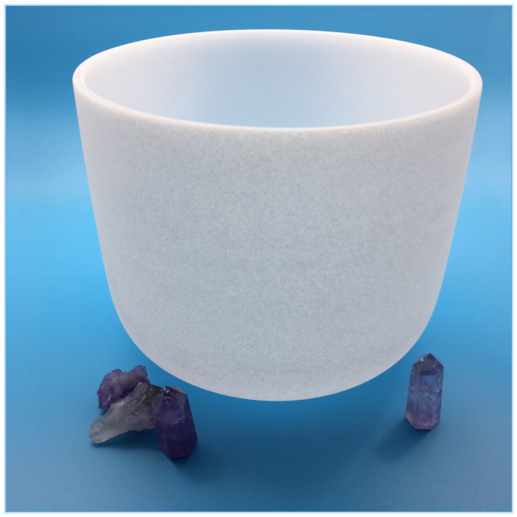 "Chinese manufacturer 9"" Note F Heart Chakra NEW Frosted Quartz Crystal Singing Bowl For Healing"