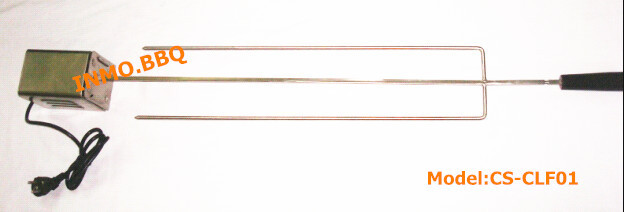 Stainless steel two prong long fork with spit rod