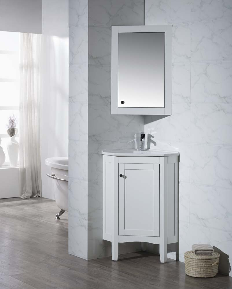 "Stufurhome TY-650PW Modern Monte Corner Bathroom Vanity with Medicine Cabinet, White, 25"""