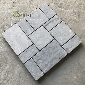 Fast installation tap-and-go anti-slip dark grey black limestone paver for patio and terrace
