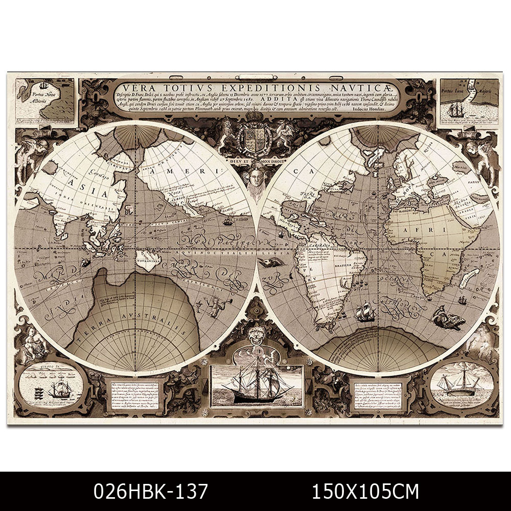 Cheap Price Support High Quality King Size World Map Printed Painting For Wall Decoration Print World Map Canvas Painting