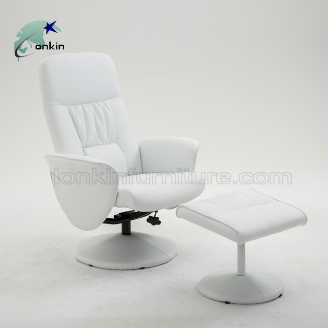 Modern Design Living Room Ottoman White Leather China Reclining Chair