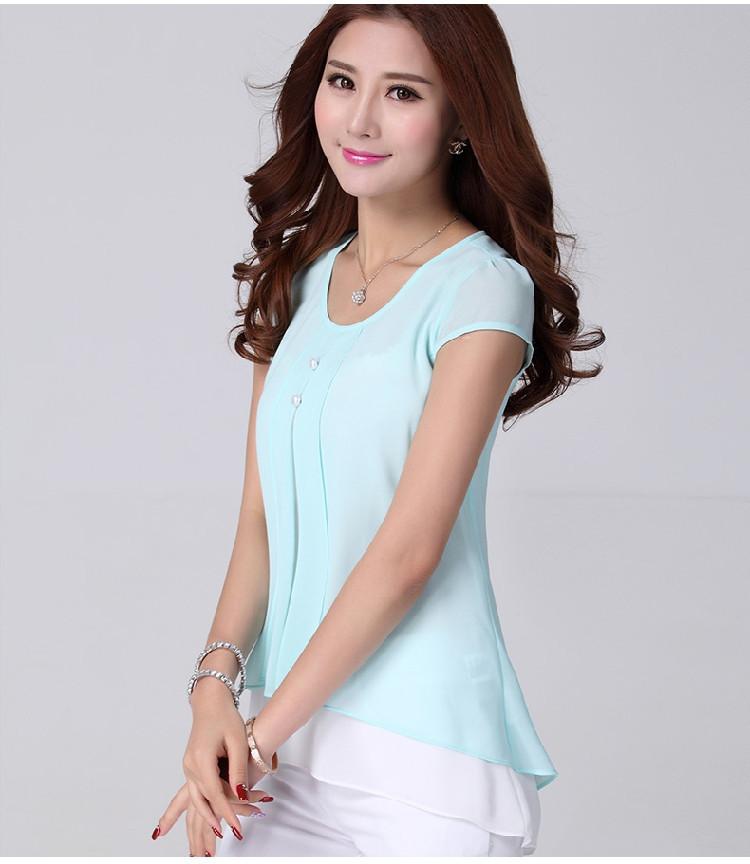 7690e128e 2015 nova moda babados feminina manga curta no verão chiffon blusa de  camisas da fábrica na