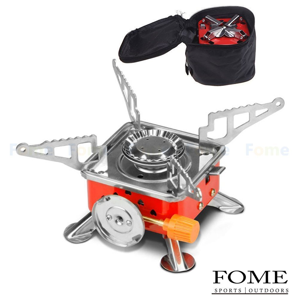 Camping Gas Stove, FOME SPORTS|OUTDOORS Stainless Steel Portable Collapsible Outdoor Backpacking Gas Camping Cooking Stove Burner One Year Warranty