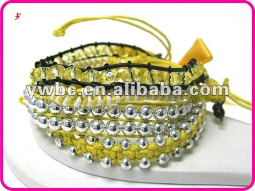 Wholesale Glass and ball bead sliding knot friendship bracelet(B102338)