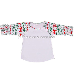 Wholesale Baby girl t shirt 3/4 icing Ruffle Sleeve Shirt Factory Price Toddler Girls Christmas Raglan clothes