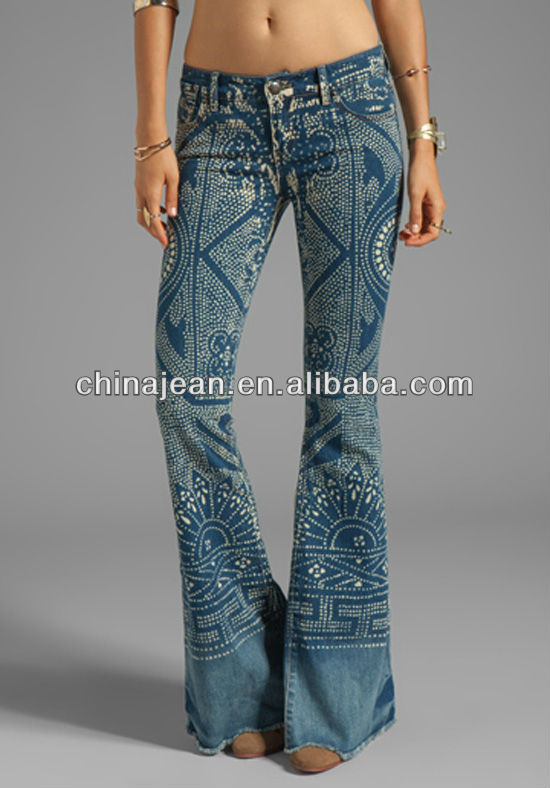 wholesale sales largest selection of 2019 factory outlets 2015 Bright Blue Women Jeans Wholesale Print Flare Jeans Jxq142 - Buy Women  Print Flare Jeans,Low Waist Classic Custom Printed Jeans,Ladies Designer ...