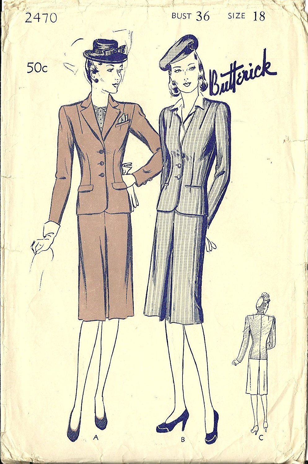 6ff4070ac8 Butterick vintage 1940s sewing pattern 2470 skirt suit - Size 18. Butterick  Sewing Pattern 5027 His   Hers Gifts Mens ...