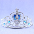 Kids Environmental Plastic Blue Elsa Princess Crown Queen Tiaras Hair Jewelry Girls Wedding Head Accessories Birthday