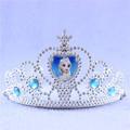 Kids Environmental Plastic Blue Elsa Princess Crown Queen Tiaras Hair Jewelry Girls Wedding Head Accessories Birthday