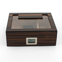 custom modern oem high-end glass top cedar wooden desktop cigar Humidor box wholesale with digital hygrometer cigar humidor