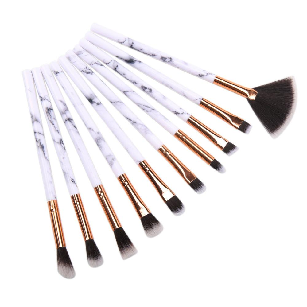 2019 Neues Design 10 Marmoraugenbürste Beauty Tools Marmor Make-up Pinsel Set Lidschattenbürste