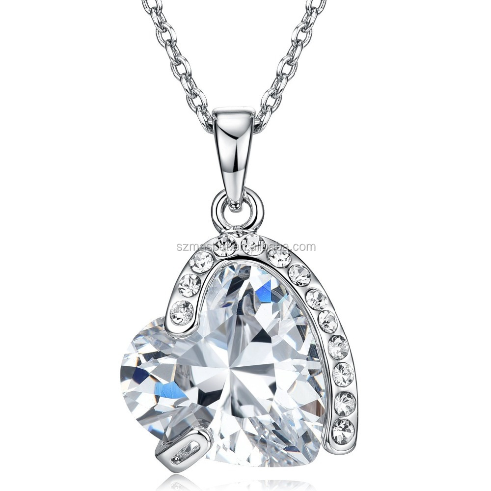 Japanese Quantum AAA zircon Hear Light solid 925 Silver Pendant