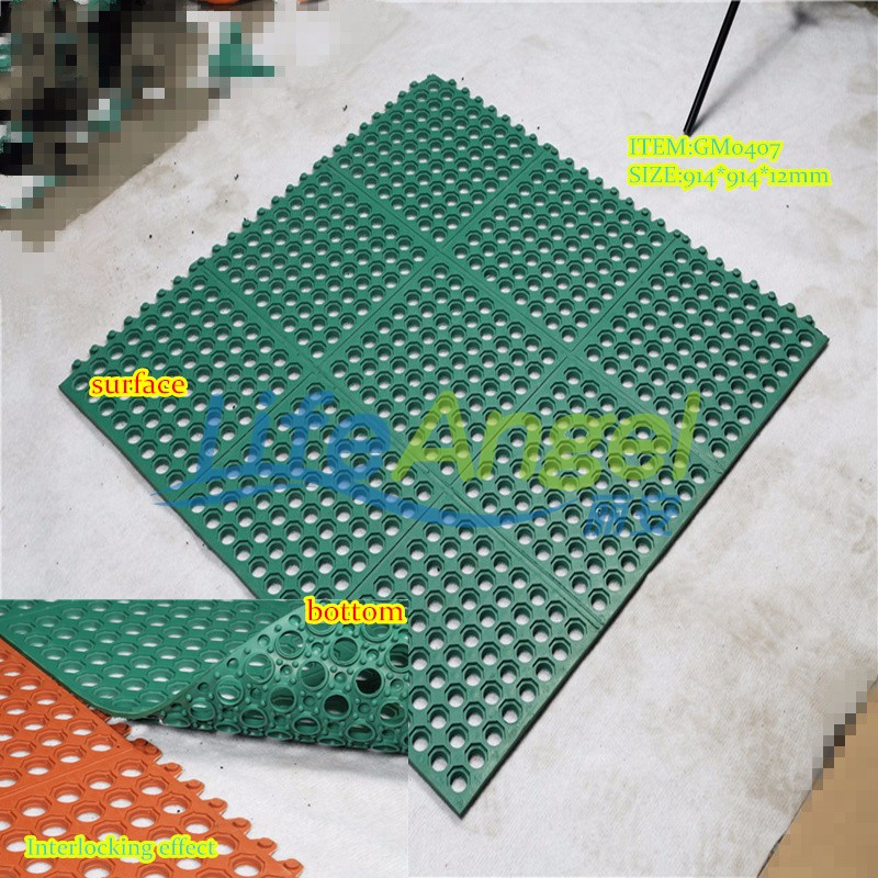 Perforated Rubber Floor Mats Modular Drainage Kitchen