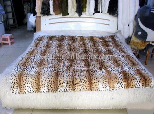 Wild Design Leopard Print Rabbit Fur Blanket Sexy Style Sofa Carpet Real Animal Fur Sheet