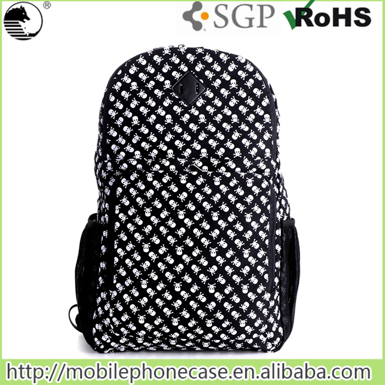 2016 New design skull and crossbones college school bag