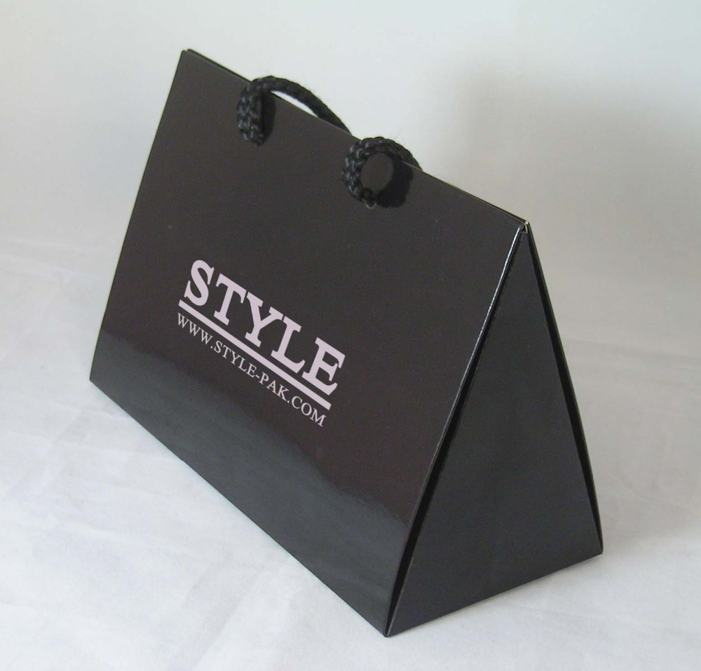 Fancy Paper Matt Black Paper Bag With Braided Rope Handle For ...