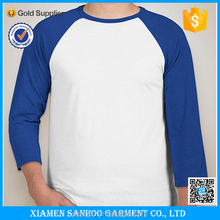 Wholesale 3/4 Sleeve Raglan Tee Plain Baseball T Shirt With Custom Logo Printing