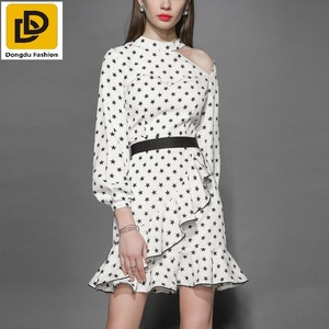 Newest Fashion Design Long Sleeves Star Printed Office Formal Dress