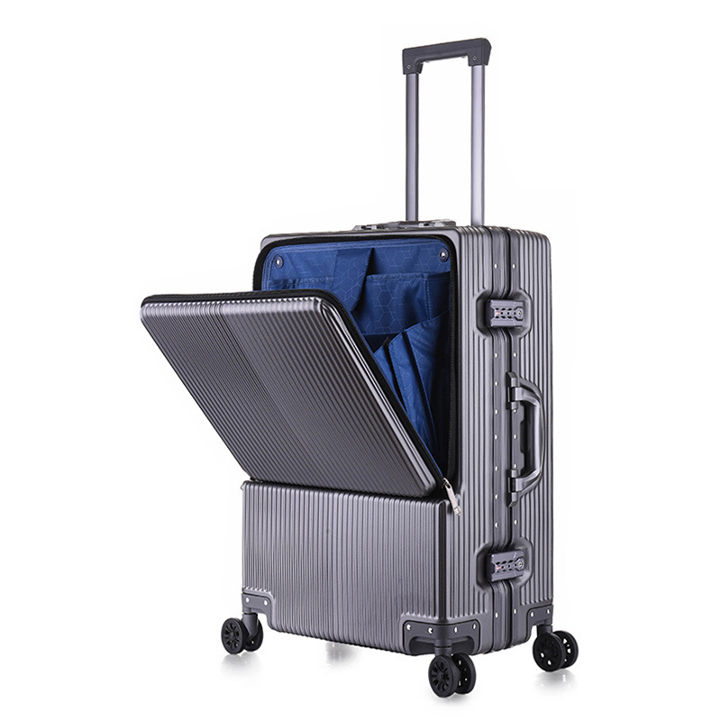 Best selling custom Germany Bayer PC aluminum trolley case suitcase front opening double open Best selling Luggage