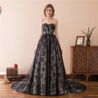 Real Sample Hot Night Dress Black Lace Evening Dresses Turkey Strapless Sweetheart Evening Dinner Dress