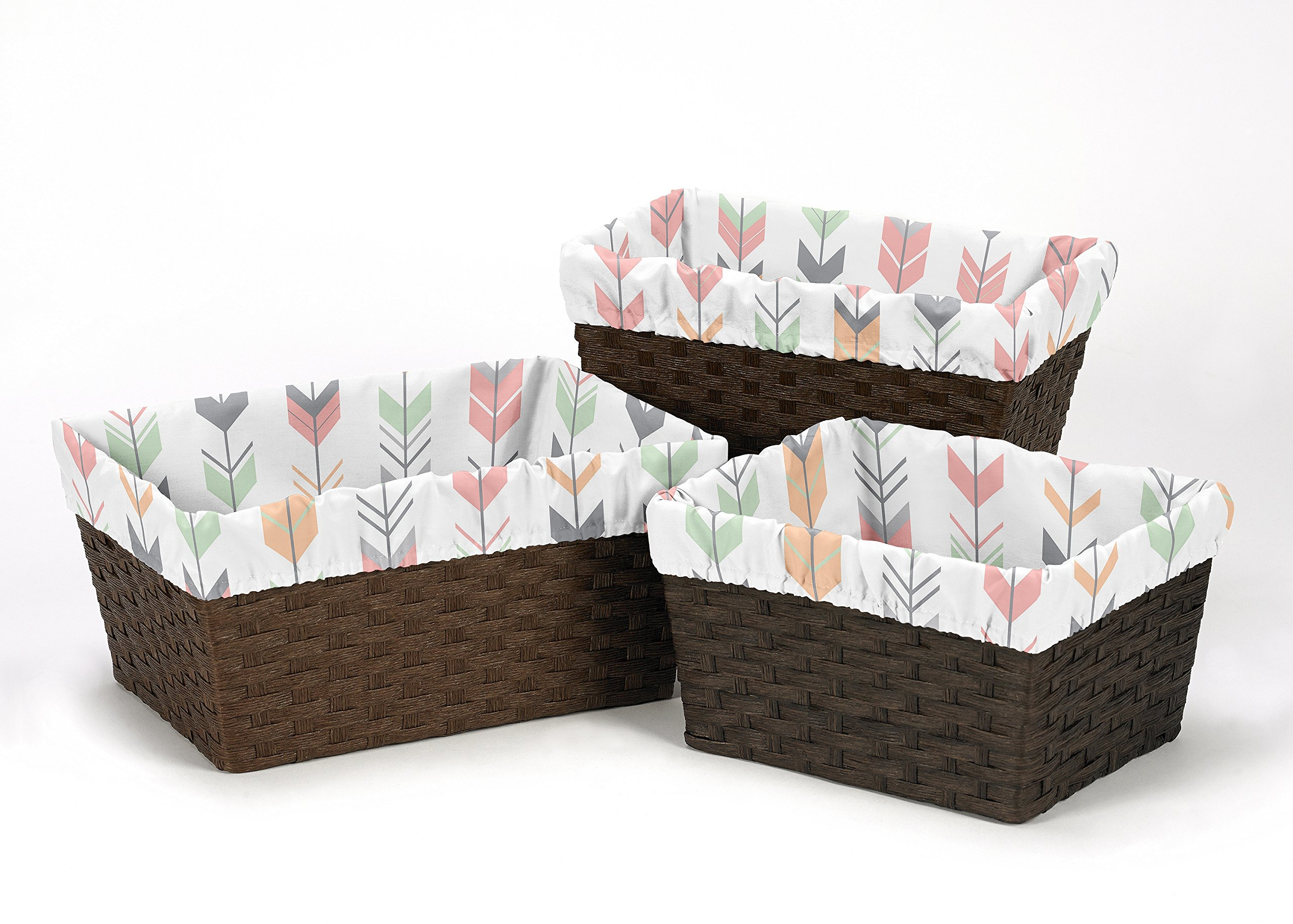 Get Quotations Sweet Jojo Designs 3 Piece Fits Most Basket Liners For C And Mint Woodland Arrow