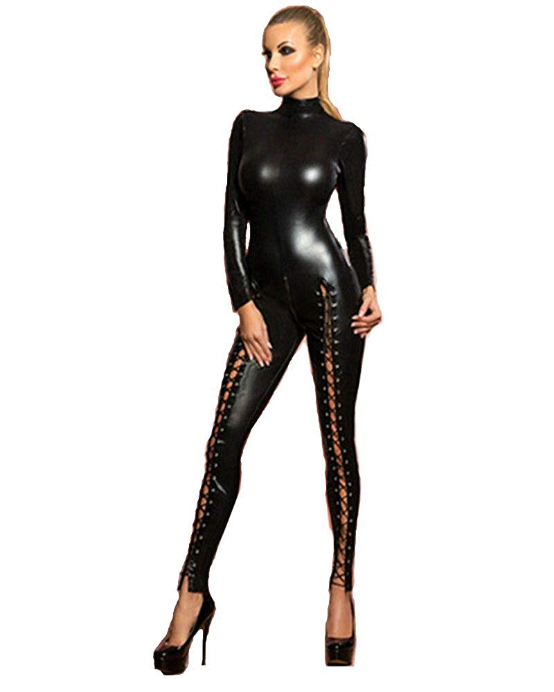 e82c4cfaa2 Fashion Queen Womens Wetlook High Neck Catsuit Lace-up Legs Jumpsuit 2 Way  Zipper Clubwear