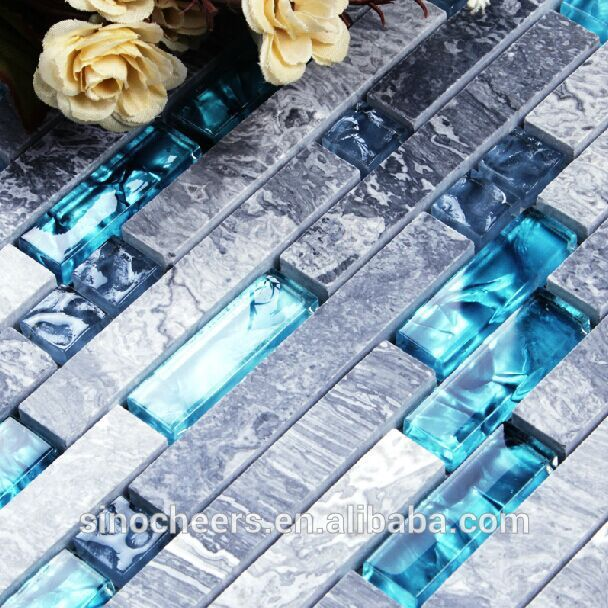 Glass Mix Stone Mosaic, Durable, Washable, 3 Length Beautiful Brown Glass Strip Mosaic